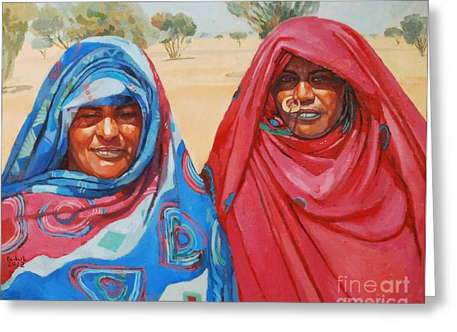 Mohamed Fadul Greeting Cards - Two women 2 Greeting Card by Mohamed Fadul