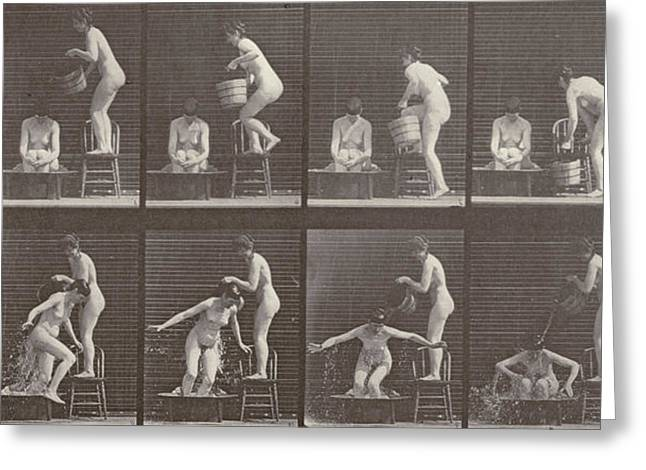 Women Together Greeting Cards - Two Women Bathing Greeting Card by Eadweard Muybridge