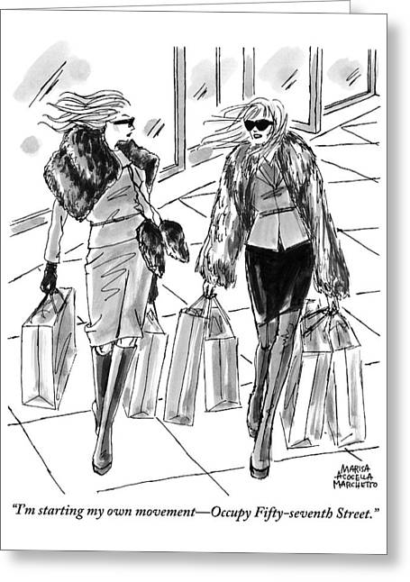 Two Women Dressed Nicely Walk Together Carrying Greeting Card by Marisa Acocella Marchetto