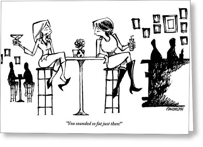 Two Women Drink Cocktails At A High Table Greeting Card by Corey Pandolph
