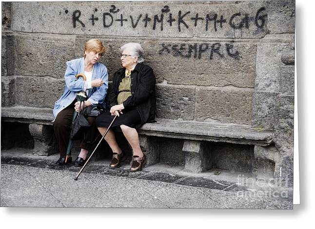 Two Women In Naples Greeting Card by Jim  Calarese