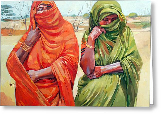 Mohamed Fadul Greeting Cards - Two women Greeting Card by Mohamed Fadul