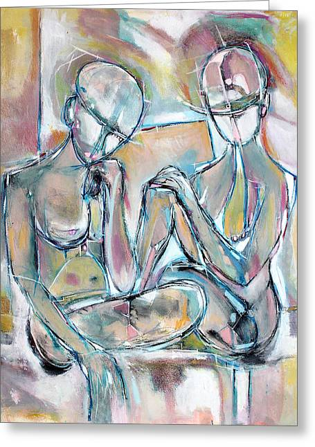 Whimsical Spontaneous Greeting Cards - Two Women Sitting Greeting Card by Hari Thomas