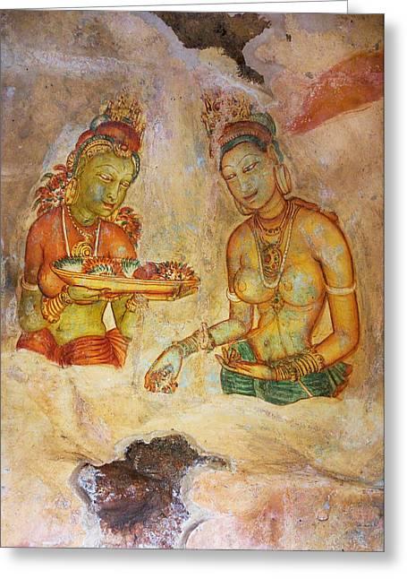 Sacred Body Greeting Cards - Two Women with Flowers. Sigiriya Cave Fresco Greeting Card by Jenny Rainbow
