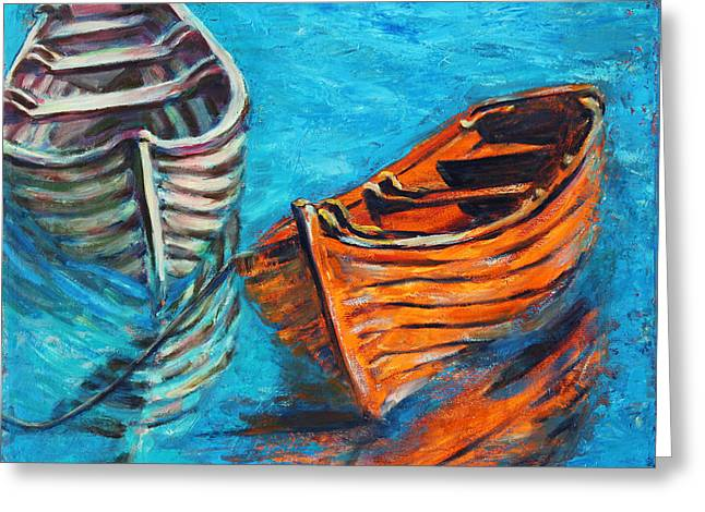 Ocean Images Greeting Cards - Two Wood Boats Greeting Card by Xueling Zou