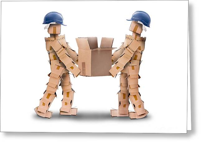 Team Mates Greeting Cards - Two workmen lifting a box Greeting Card by Simon Bratt Photography LRPS