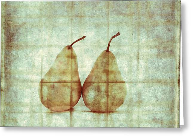 Cerulean Greeting Cards - Two Yellow Pears on Folded Linen Greeting Card by Carol Leigh