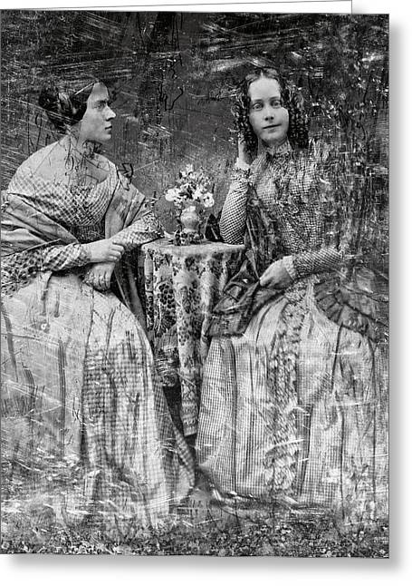 Young Lady Photographs Greeting Cards - TWO YOUNG ANTEBELLUM LADIES ALMOST LOST to TIME Greeting Card by Daniel Hagerman