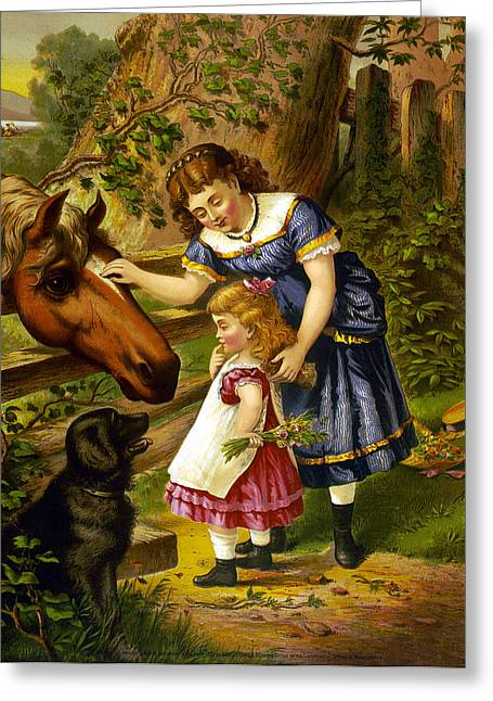 Two Young Girls Greeting Cards - Two Young Girls Greeting Card by Unknown