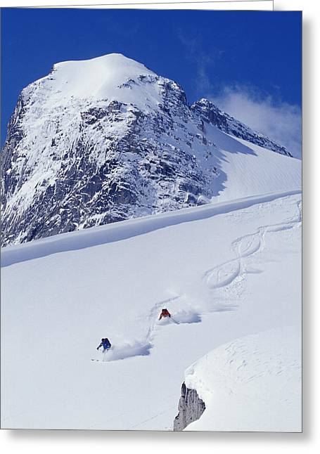 Downhill Skiing Greeting Cards - Two Young Men Skiing Untracked Powder Greeting Card by Henry Georgi Photography Inc