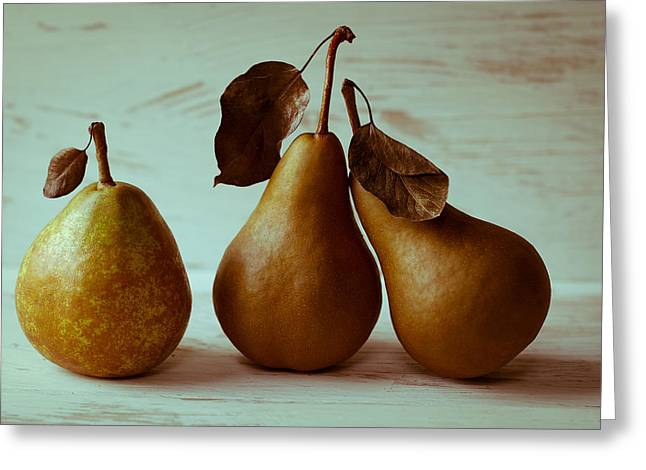 Pear Art Greeting Cards - Twos Company Greeting Card by Constance Fein Harding