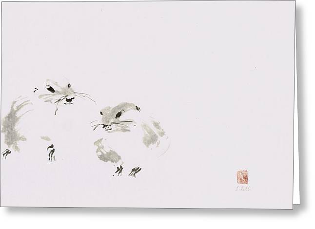 Sumie Greeting Cards - Twosome Greeting Card by Lilith Ohan
