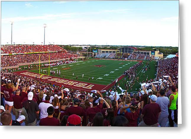 Bobcats Greeting Cards - TxST - New Bobcat Stadium Student Panoramic Greeting Card by Randy Smith