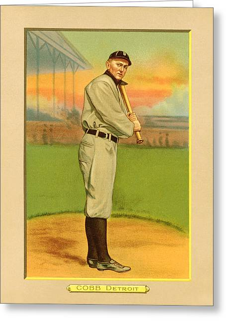 Cobb Greeting Cards - Ty Cobb Baseball Card Portrait Greeting Card by Gary Bodnar
