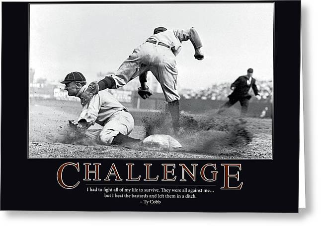 Cobb Greeting Cards - Ty Cobb Challenge  Greeting Card by Retro Images Archive