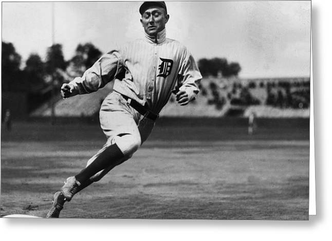 Detroit Legends Greeting Cards - Ty Cobb Greeting Card by Gianfranco Weiss