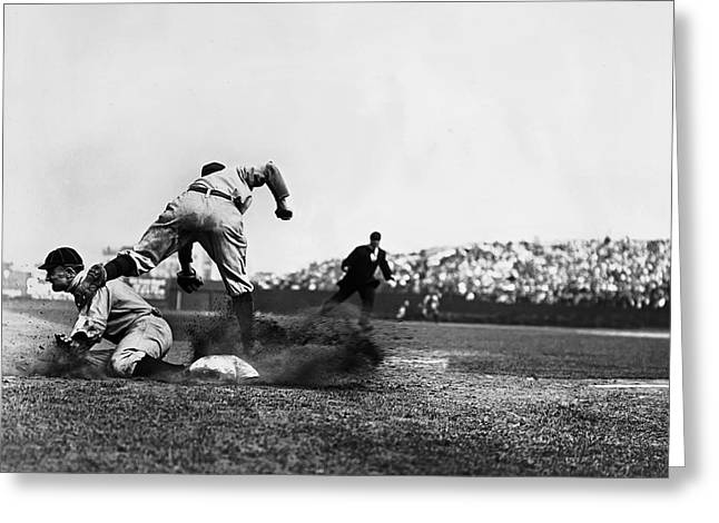 Cobb Greeting Cards - Ty Cobb Famous Slide Greeting Card by Retro Images Archive