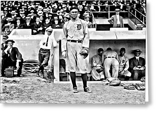 Baseball Greeting Cards - Ty Cobb Greeting Card by Florian Rodarte