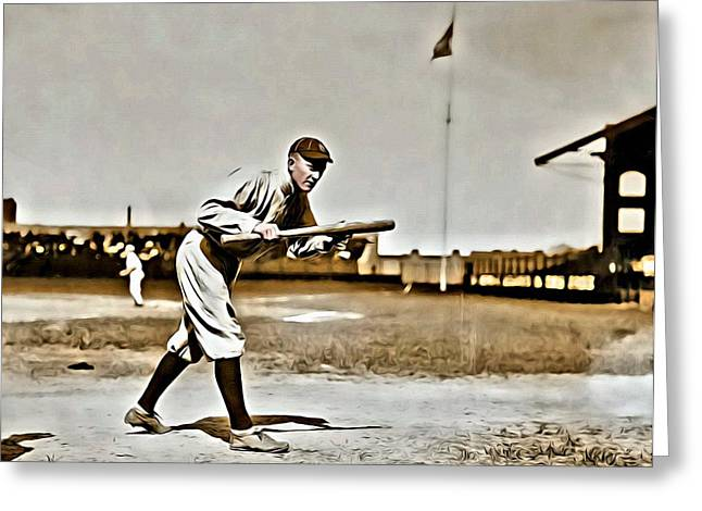 Baseball Bat Greeting Cards - Ty Cobb Painting Greeting Card by Florian Rodarte