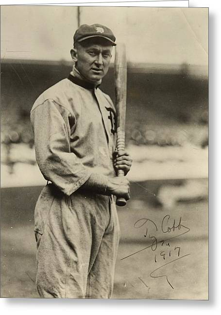 Detroit Legends Greeting Cards - Ty Cobb  poster Greeting Card by Gianfranco Weiss