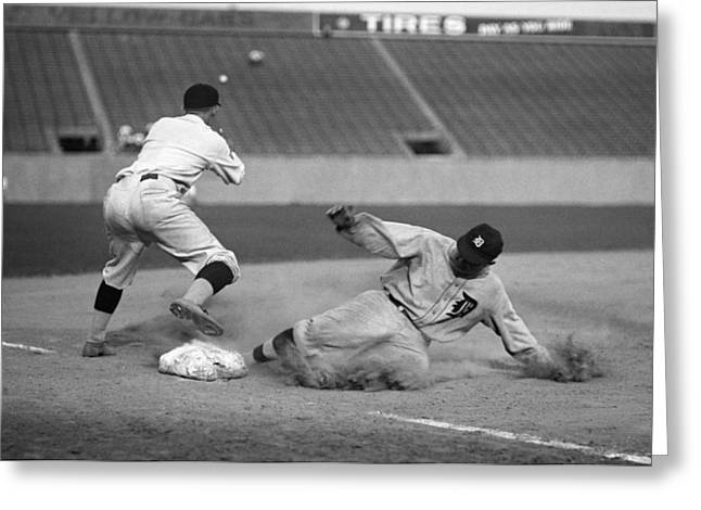 Detroit Legends Greeting Cards - Ty Cobb sliding Greeting Card by Gianfranco Weiss