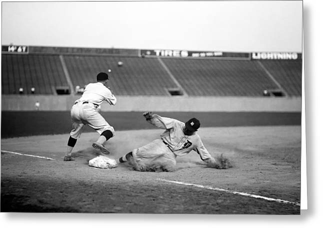 Ty Cobb Sliding Into Third Base 1924 Greeting Card by Mountain Dreams