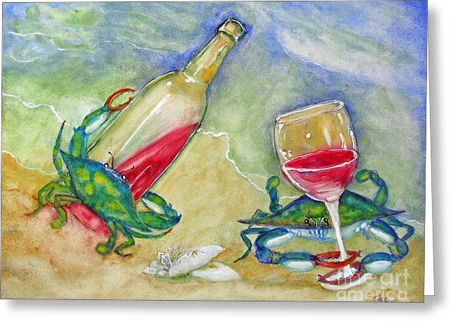 Tybee Blue Crabs Tipsy Greeting Card by Doris Blessington