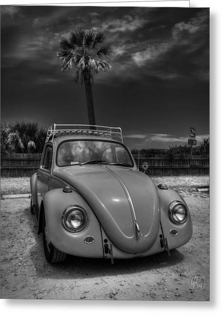 Vw Beetle Greeting Cards - Tybee Island Beach Bug 002 BW Greeting Card by Lance Vaughn