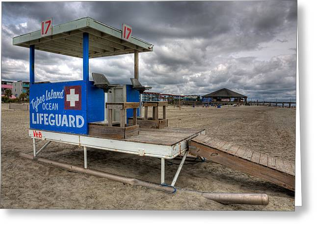 Tybee Island Lifeguard Stand Greeting Card by Peter Tellone