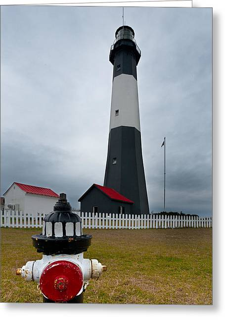 Flag Fire Hydrant Greeting Cards - Tybee Island Lighthouse Greeting Card by Bruce Siulinski