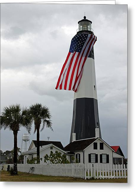 White Pickett Fences Greeting Cards - Tybee Island Lighthouse - Red White and Blue Greeting Card by Suzanne Gaff