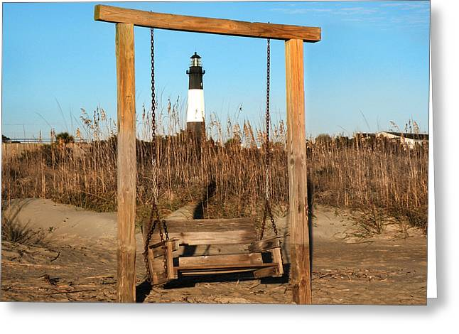 Swingset Greeting Cards - Tybee Island Lighthouse Greeting Card by Steven  Michael
