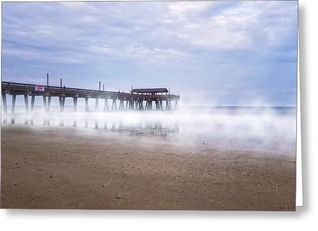 Foggy Ocean Greeting Cards - Tybee Island Pier Greeting Card by Mark Tisdale