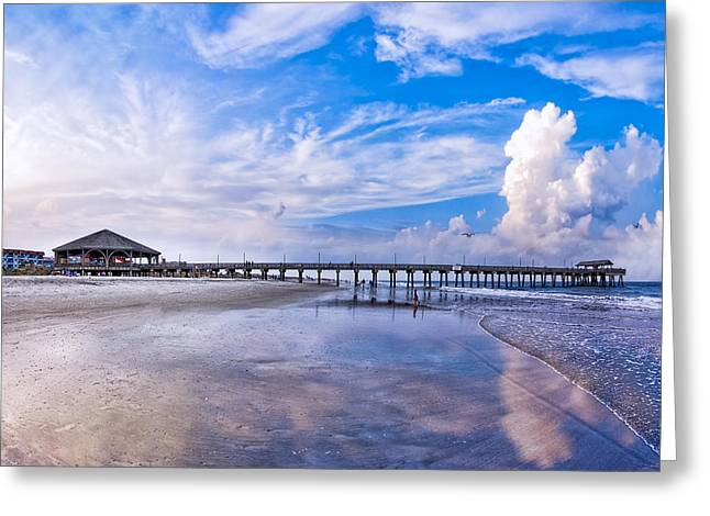 Sand And Sea Greeting Cards - Tybee Island Pier on a Beautiful Afternoon Greeting Card by Mark E Tisdale