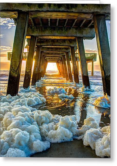 Tybee Island Pier Greeting Cards - Tybee Island Pier Sunrise Seafoam Greeting Card by Reid Callaway