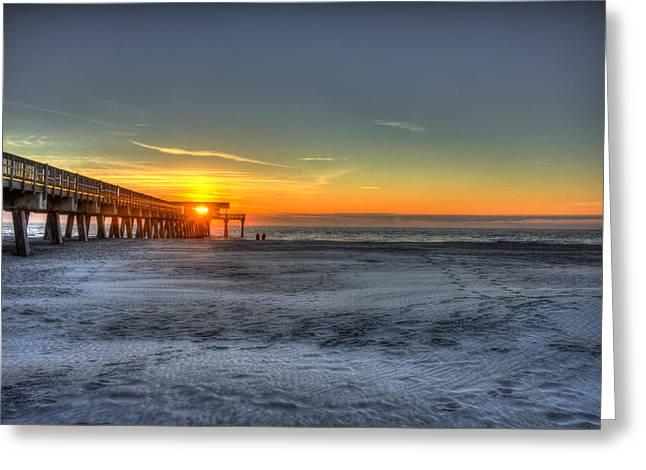 Pier Pilings Greeting Cards - Tybee Island Pier Sunrise Watchers Greeting Card by Reid Callaway