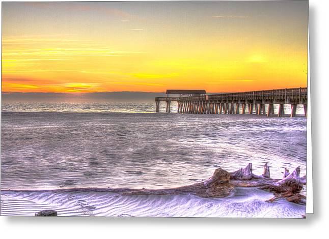 Tybee Island Pier Greeting Cards - Tybee Island Pier Winter Sunrise Greeting Card by Reid Callaway