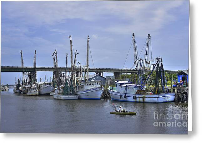 Fishing Creek Greeting Cards - Tybee Island Shrimp Boats on Route 80 Greeting Card by Reid Callaway