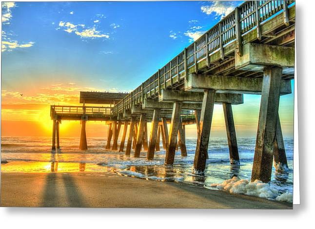 Pier Pilings Greeting Cards - Tybee Island Sunrise 7 Greeting Card by Reid Callaway