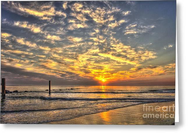 Tybee Island Pier Greeting Cards - Calm Seas and A Tybee Island Sunrise Greeting Card by Reid Callaway