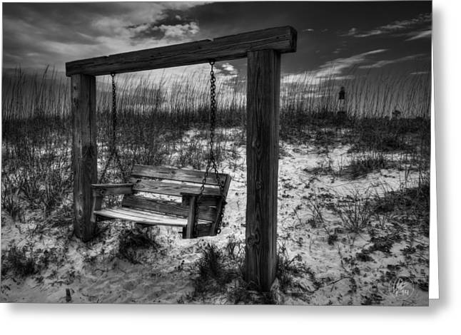 Driftwood Beach Greeting Cards - Tybee Island Swing 003 BW Greeting Card by Lance Vaughn
