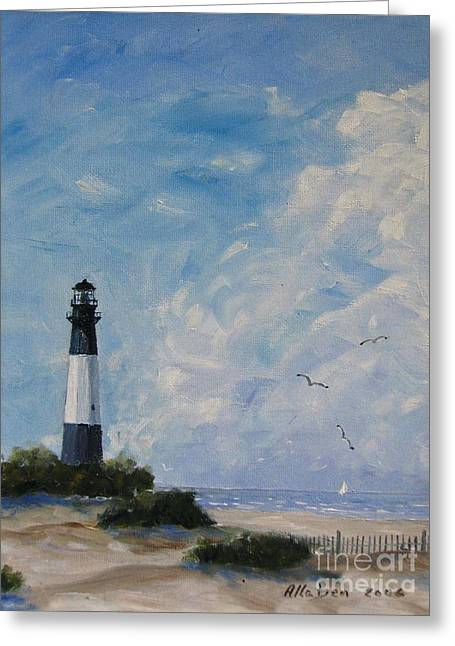 Stanton Allaben Greeting Cards - Tybee Light Greeting Card by Stanton Allaben