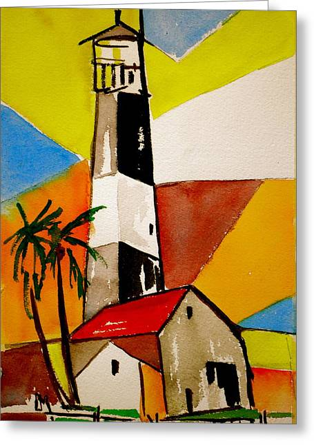 Abstract Seascape Drawings Greeting Cards - Tybee Lighthouse Greeting Card by Pete Maier