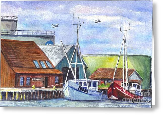 Sailboats Docked Drawings Greeting Cards - Tyboron Harbour in Denmark Greeting Card by Carol Wisniewski