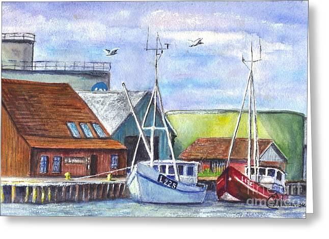 Water Vessels Drawings Greeting Cards - Tyboron Harbour in Denmark Greeting Card by Carol Wisniewski