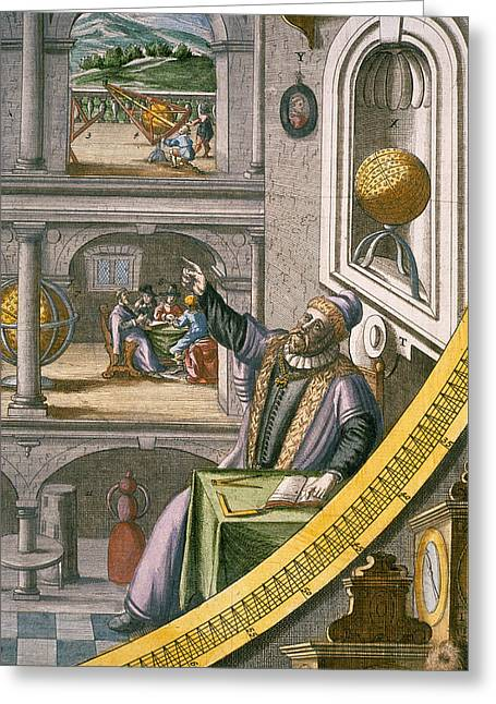 Astronomers Greeting Cards - Tycho Brahe Aged 40, Amongst Greeting Card by Joan Blaeu