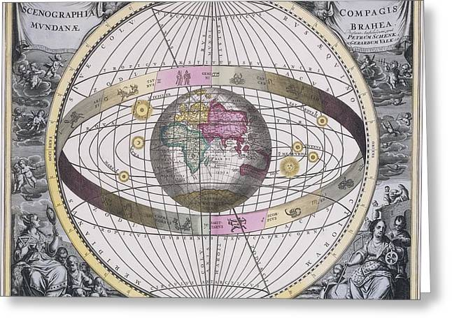 Macrocosmica Greeting Cards - Tychonic worldview, 1708 Greeting Card by Science Photo Library