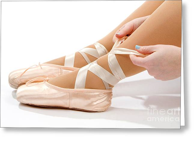 Tying Shoe Greeting Cards - Tying Ballet Slippers Greeting Card by Steven Frame