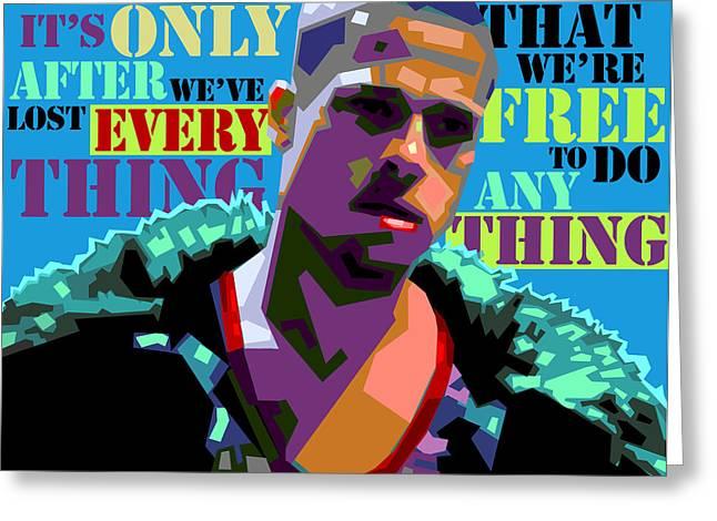 Brad Pitt Greeting Cards - Tyler Durden 2 Greeting Card by Douglas Simonson