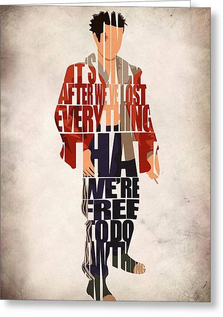 Geeky Greeting Cards - Tyler Durden Greeting Card by Ayse Deniz